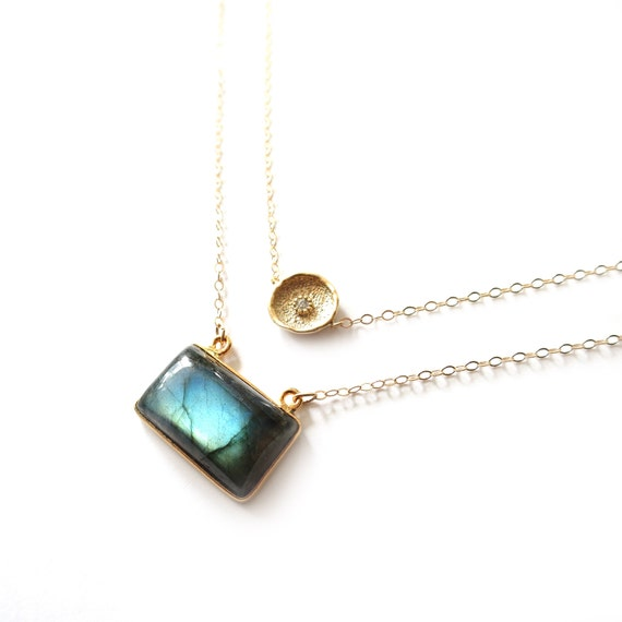 Gold Coin + Labradorite Layer Necklace