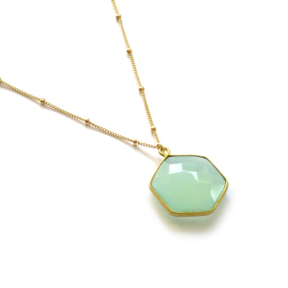 Blue Chalcedony Hexagon Necklace