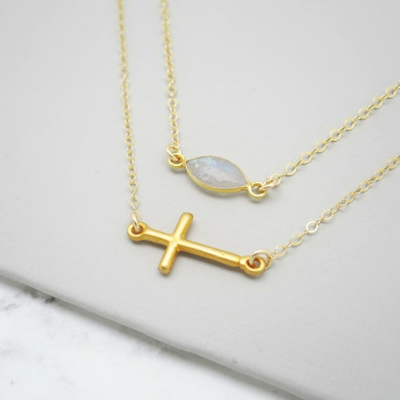 Gold Cross & Moonstone Layer Necklace