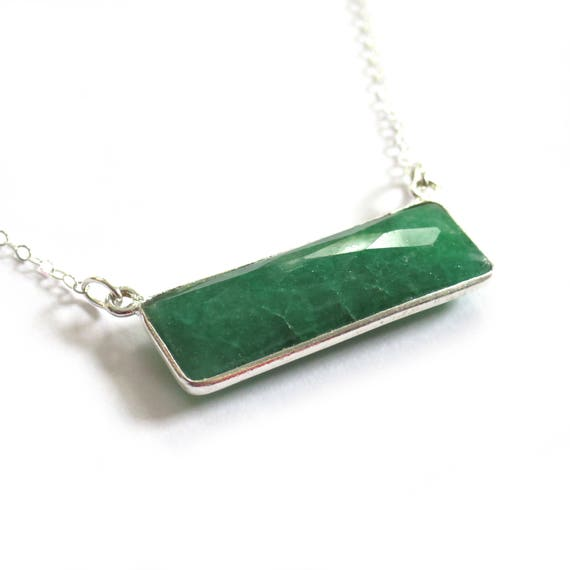 Sterling Silver Emerald or Sapphire Bar Necklace