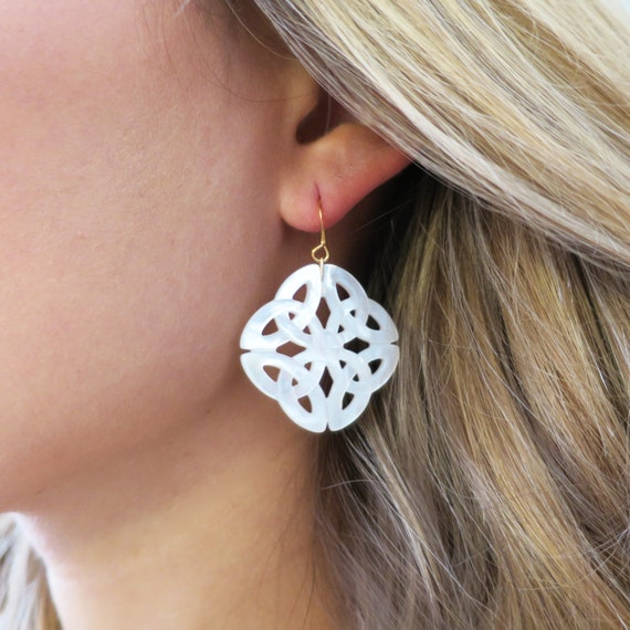 Large Celtic Mother of Pearl Earrings