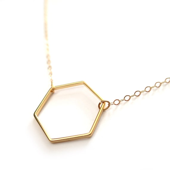 Gold Honeycomb Necklace, Gold Hexagon Necklace, Gold Geometric Necklace, Dainty Gold Necklace, Delicate Gold Filled Chain, 14k Gold