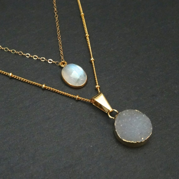 Druzy + Moonstone Layer Necklace