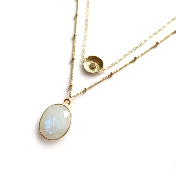 Rainbow Moonstone Layered Necklace