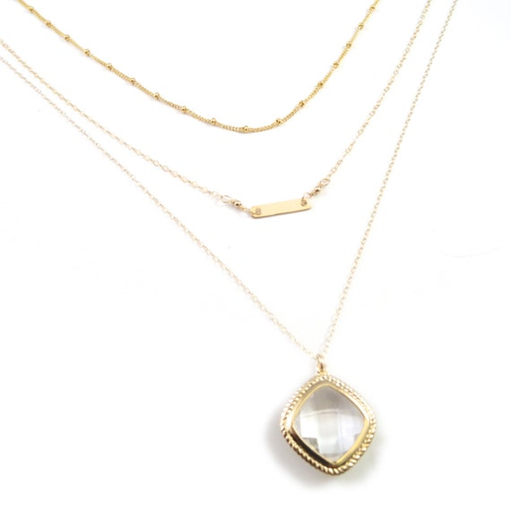 Dew Drop Gold Framed Glass Necklace