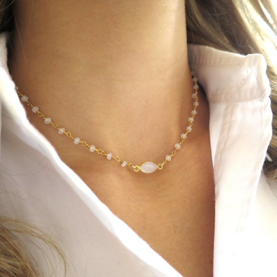 Suspended Moonstone Choker Necklace on Rosary