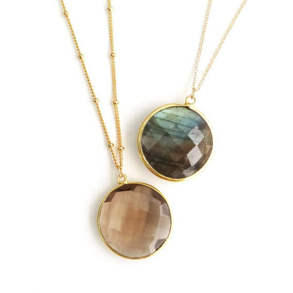 Smoky Topaz or Labradorite Pendant Necklace
