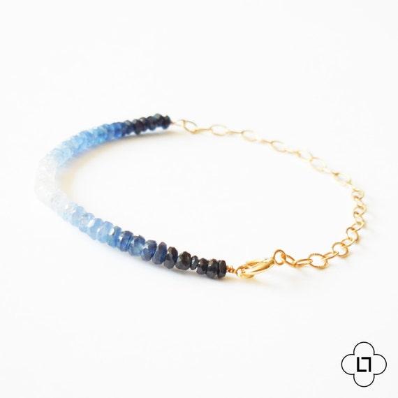 Gold Ombre Sapphire Bar Bracelet