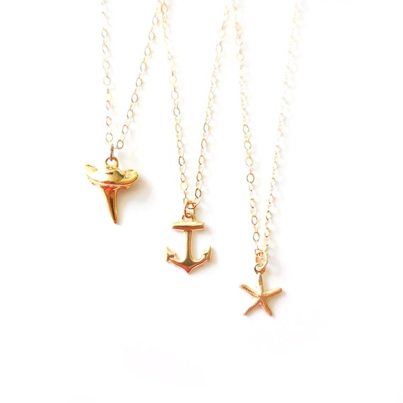 Gold Nautical Charm Necklaces (Shark Tooth, Starfish, Anchor)