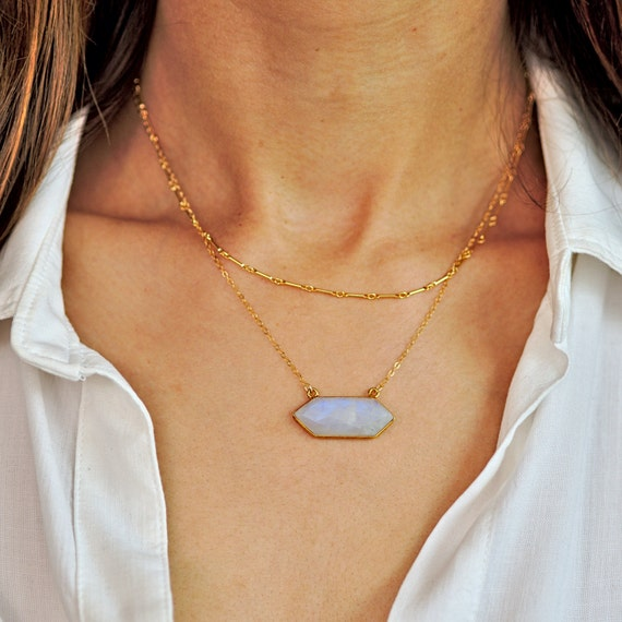 Suspended Moonstone Layered Necklace