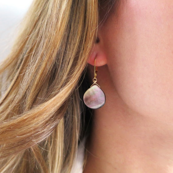 Short Purple/Grey Mother of Pearl Teardrop Earrings