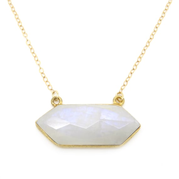 Hexagonal MoonstoneGold Necklace