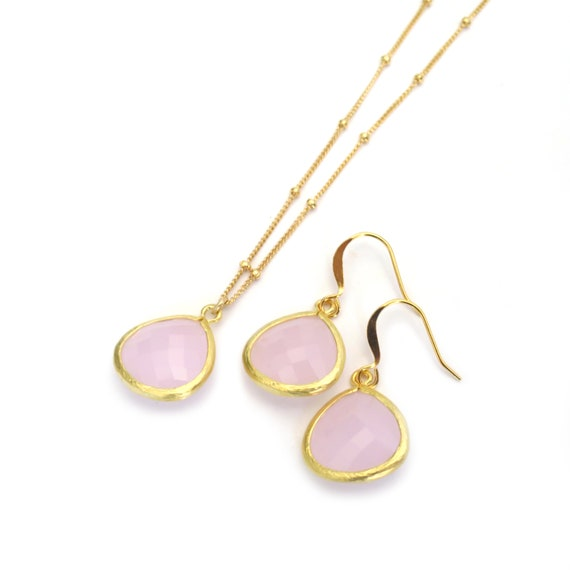 Pink Necklace Earring Set
