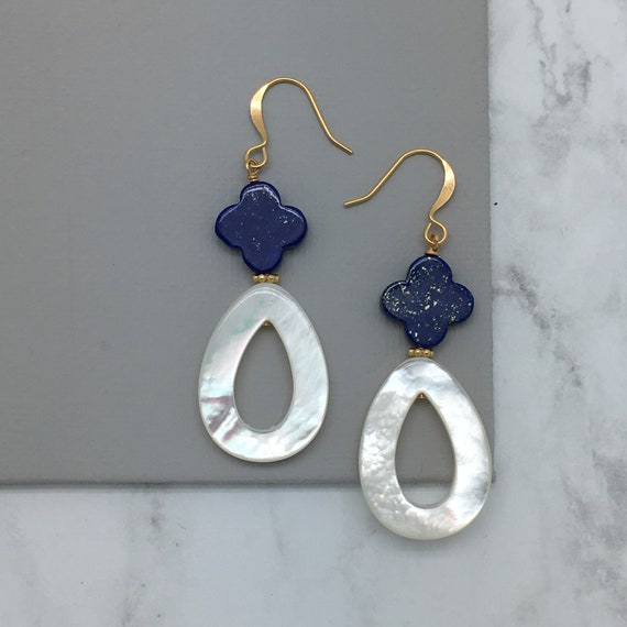 Lapis Earrings, Trefoil Earrings, Mother of Pearl Earrings, Dangle Earrings, Teardrop Earrings, Wedding Earrings, Bridesmaid Gift for Her