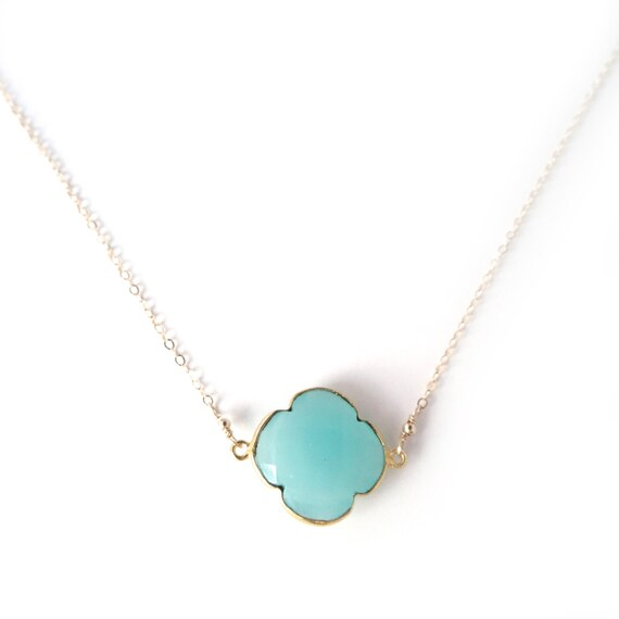Turquoise Clover Pendant Necklace