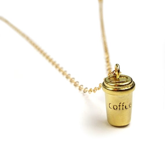 Gold Coffee Cup Necklace