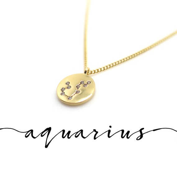 Gold Aquarius Constellation Necklace