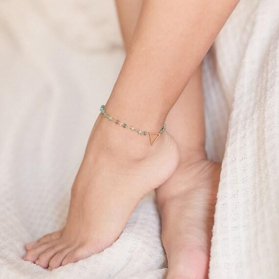 African Opal Jasper + Triangle Boho Anklet