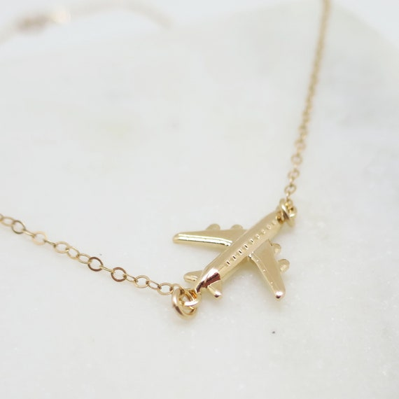 Gold Airplane Necklace
