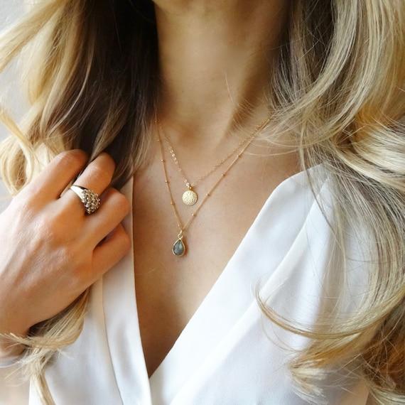 Gold Coin and Labradorite Layer Necklace