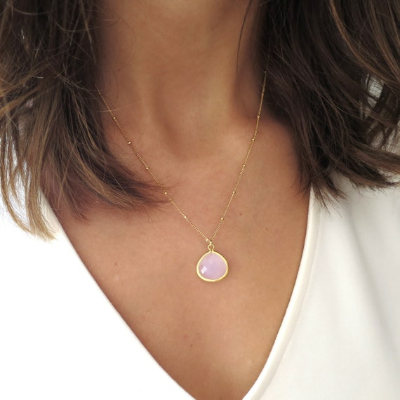 Dainty Pink Teardrop Necklace