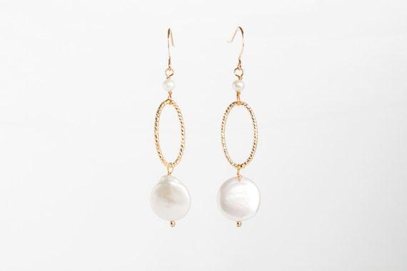 Gold Hoop Pearl Dangle Earrings