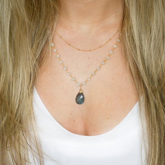 Moonstone + Labradorite Pendant Layer Necklace