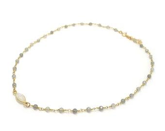 Rainbow Moonstone Choker Necklace, Labradorite Chain Necklace, Dainty Moonstone, Gold Moonstone, Labradorite Gold Necklace, June Necklace