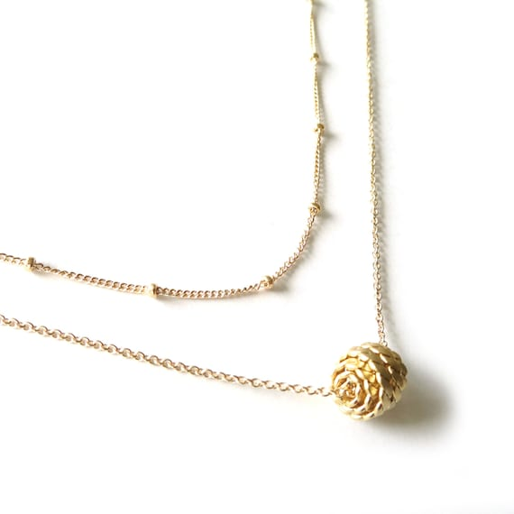Gold Nautical Ball Layer Necklace