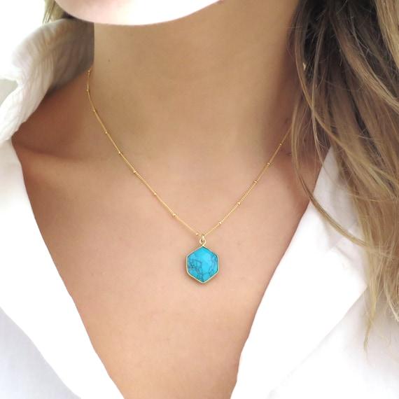 Turquoise Hexagon Necklace