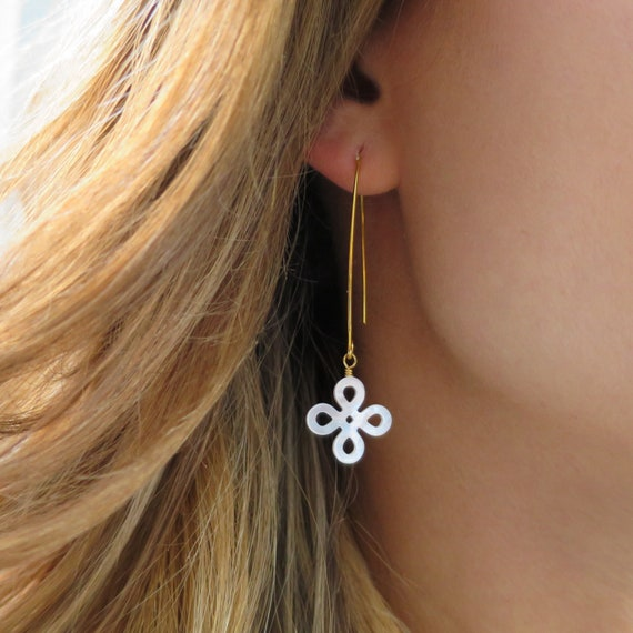 Mother of Pearl Clover Drop Earrings