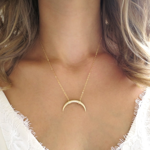 Layering Necklace Gold Horn Necklace Sterling Silver Tusk Necklace On trend Gold Double Horn Double  Horn Choker Minimal Bohemian