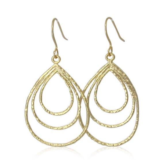 Hammered Gold Multiple Hoop Earrings