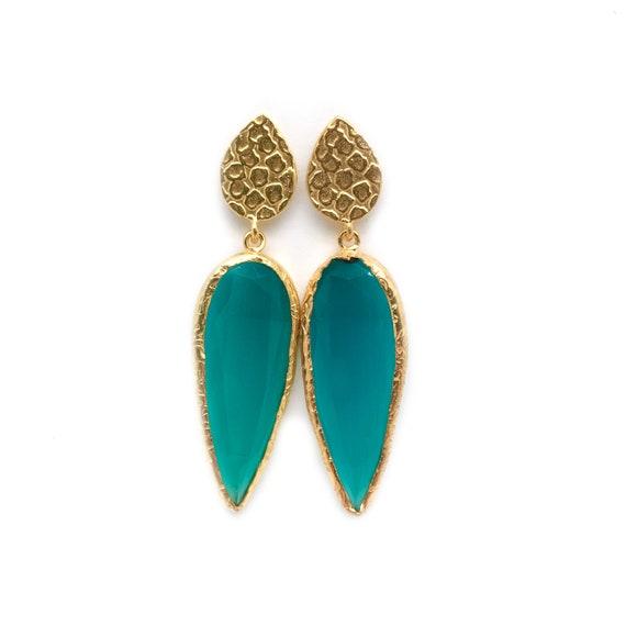 Emerald Green Quartz Earrings