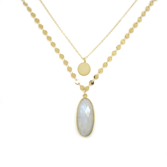 Dainty Moonstone Layer Necklace