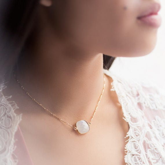 Suspended Moonstone Choker Necklace