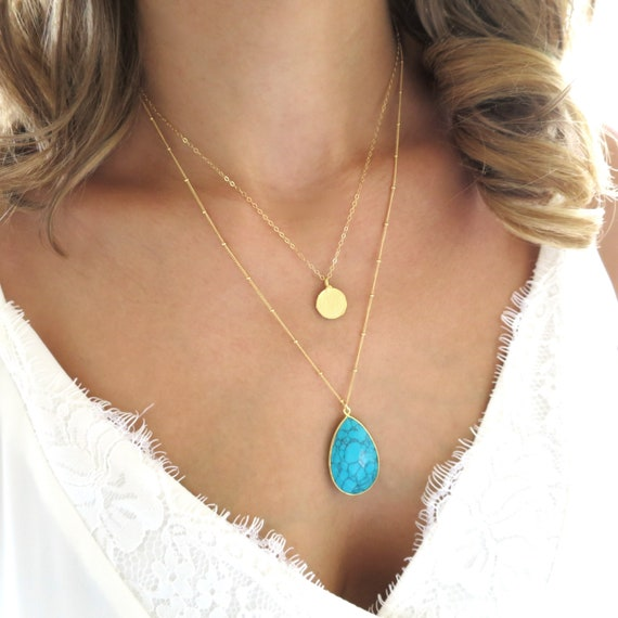 Turquoise Teardrop and Coin Layered Necklace