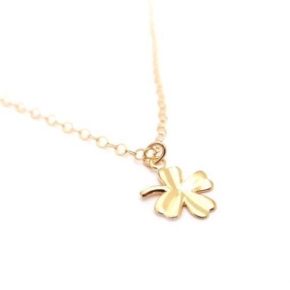 Tiny Four Leaf Clover Charm Necklace