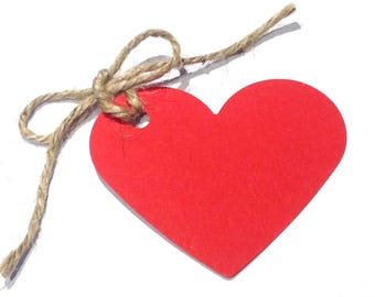 10 Red / Kraft Brown or Ivory Heart Shaped Tags with Natural Jute Twine  -  70mm x 60mm - UK Based