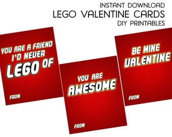 Creative Building Brick Valentine Cards - DIY Printable Digital Valentine Cards