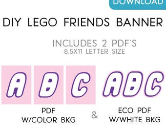 Friends Building Brick Party Letters & Numbers - DIY Printable Digital File