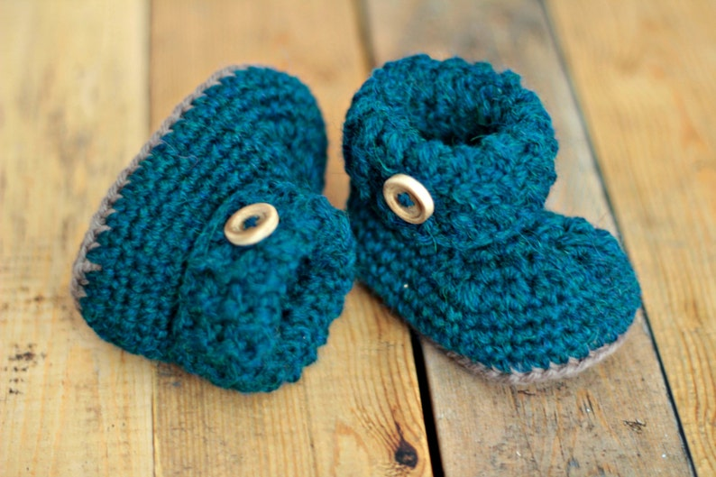 6607a5a0eaa2e Crochet baby booties shoes petroleum, baby shoes, wool shoes, woolen
