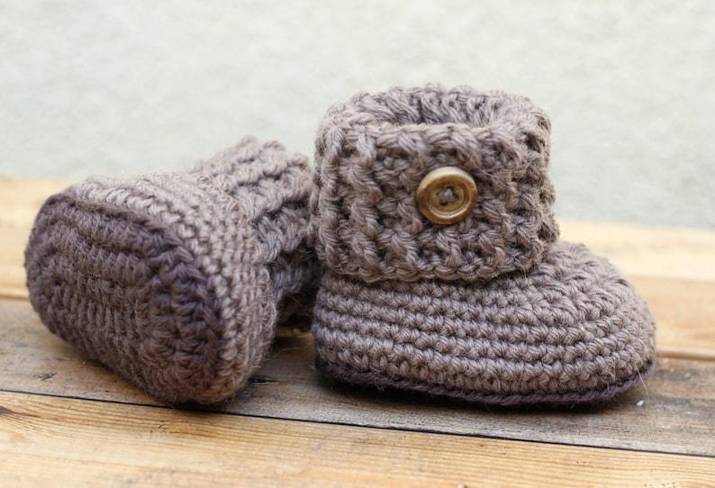 671c71027e5ac Brown baby booties, baby shoes, woolen baby socks, woolen baby booties,  woolen shoes, handmade baby booties