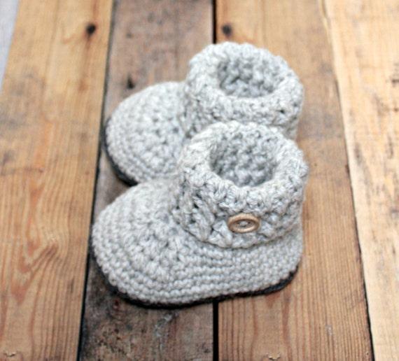 Perle Grau Baby Booties Wollene Babyschuhe Häkeln Wolle Etsy