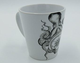 Octopus and Compass lost at sea Nautical 12oz latte mug