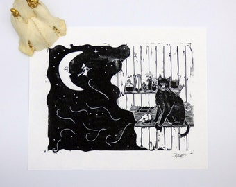 Witches Black Cat Hand Printed Lino Print
