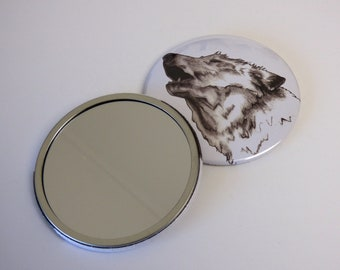 Howling White Wolf Pocket Mirror
