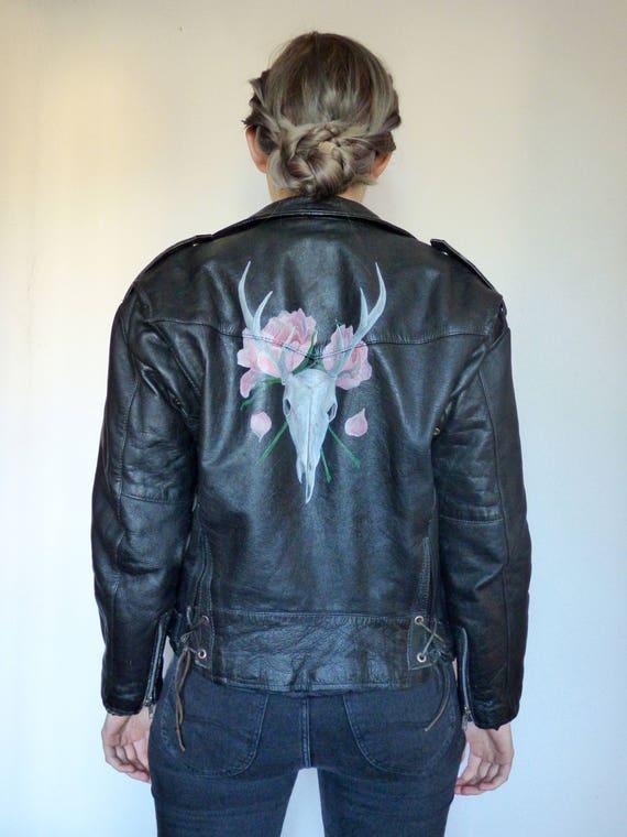 À Mort Peint De Motard Roses Et Main Veste Vintage Tête La Cerf XgTO7Uq 4dabec41ed1
