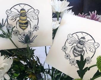 Bumble Bee and daisy hand printed lino print