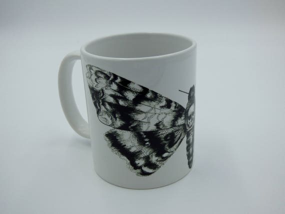 Set of 6 Classic Black Butterflies on White Design Porcelain 11oz Mugs